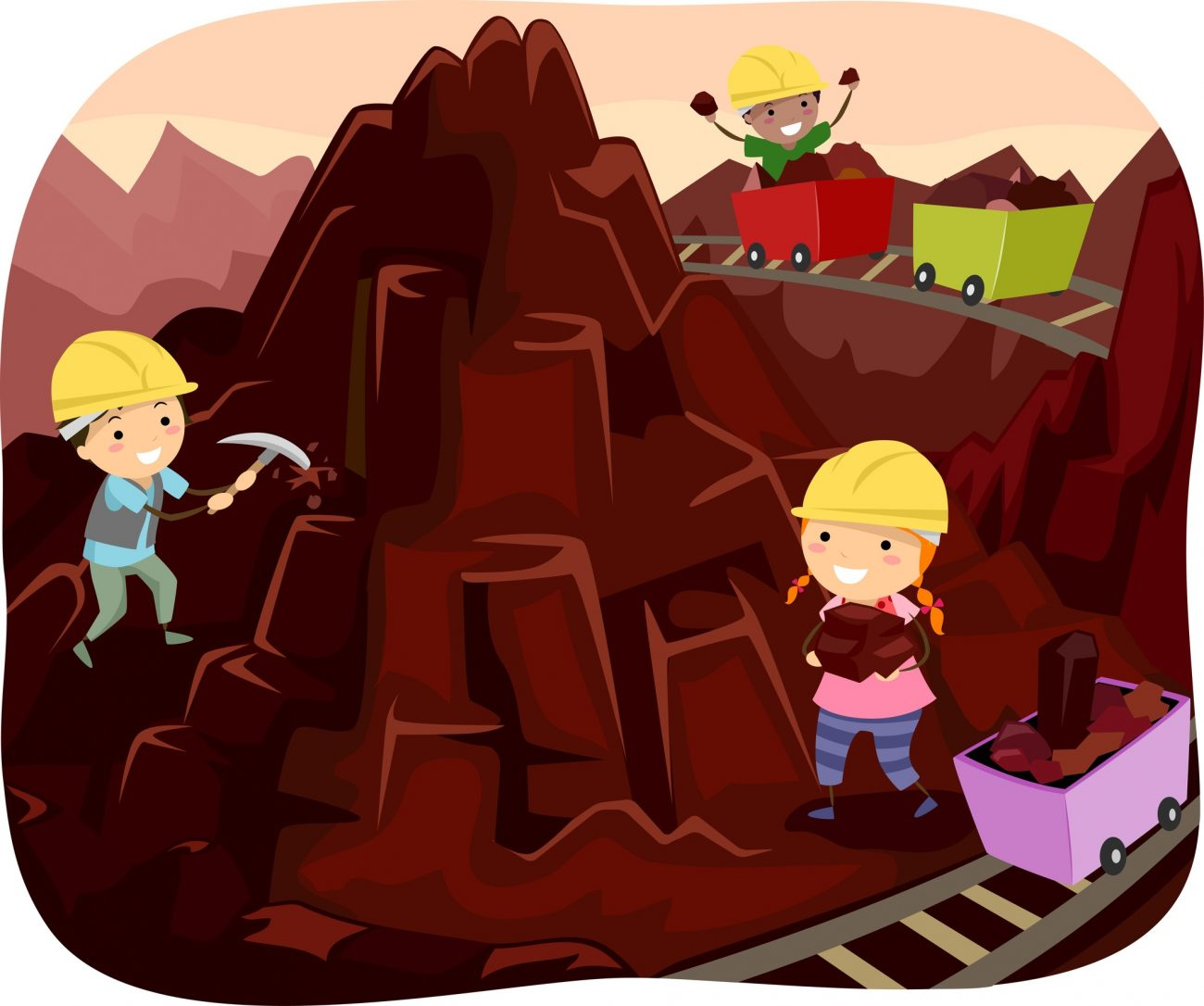 Stickman Illustration of Kids Mining Chocolates from a Chocolate Mountain